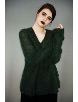 Mohair Sweater, Green Sweater, Mohair Pullover, Vintage Mohair Sweater, Mohair Jumper,Bottle Green Mohair Jumper,Knit Sweater,Strickpullover by Etsy