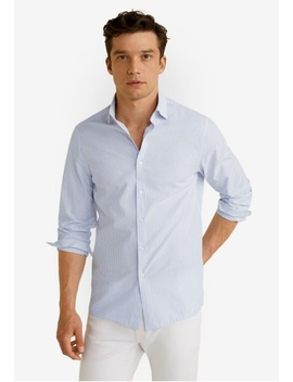 Slim Fit Striped Cotton Shirt by Mango Man
