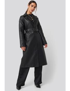 Belted Pu Coat Czarny by Queenofjetlagsxnakd