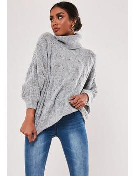 Petite Grey Cable Knit Wide Sleeve Jumper by Missguided