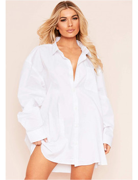 Tara White Oversized Shirt Dress by Missy Empire