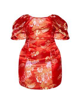 Shape Red Oriental Bardot Bodycon Dress by Prettylittlething