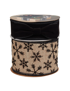 "Holiday Time Solid Black/Log Snowflake Christmas Ribbon, 3"" W X 15' L And 1.5"" W X 15' L, 2 Pack by Holiday Time"
