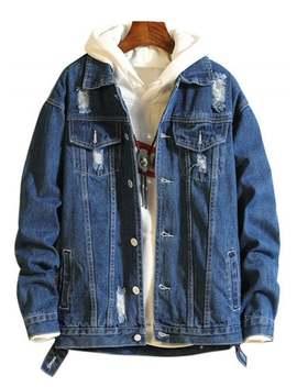 Popular Casual Destroy Wash Ripped Denim Jacket   Denim Dark Blue Xs by Zaful