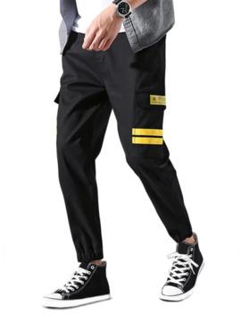 Popular Sale Flap Pocket Striped Applique Drawstring Jogger Pants   Yellow L by Zaful