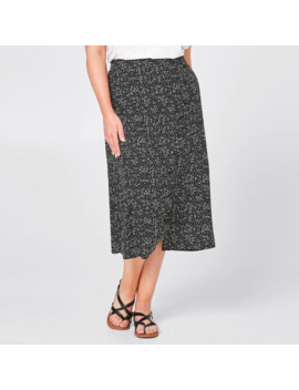 Belle Curve Assymetric Skirt   Black Geo Leaf by Target