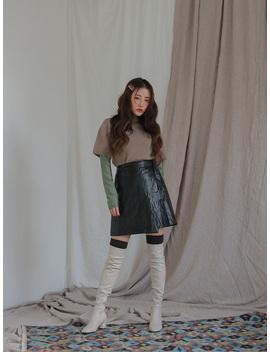 Faux Leather Wrap Mini Skirt by Stylenanda