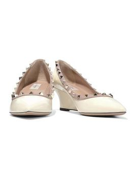 Studded Patent Leather Wedge Pumps by Valentino Garavani