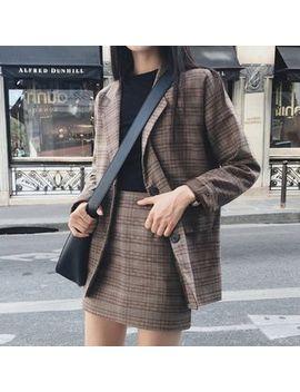 Yunhouse   Plaid Blazer / High Waist Plaid A Line Mini Skirt / Set by Yunhouse