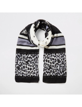 Black Mixed Print Scarf by River Island