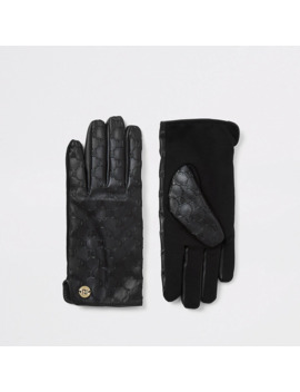 Black Leather Ri Embossed Boxed Gloves by River Island
