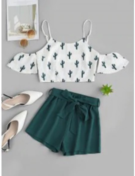 Hot Zaful Cold Shoulder Cactus Print Top And Shorts Set   White M by Zaful