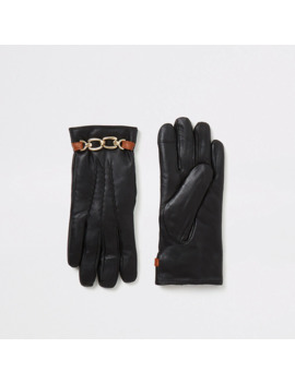 Black Leather Chain Embellished Boxed Gloves by River Island