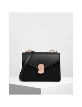 Metal Push Lock Front Flap Bag by Charles & Keith