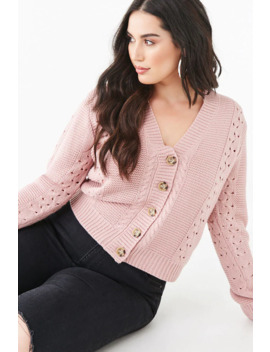 Plus Size Pointelle Button Front Cardigan by Forever 21