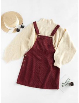 Hot Zaful Corduroy Pocket Pinafore Dress   Firebrick M by Zaful