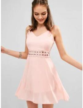 Hot Sale Back Zipper Crochet Panel Cami Dress   Rose M by Zaful
