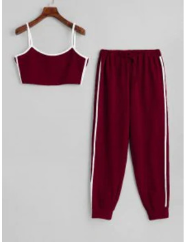 Hot Side Striped Cropped Top And High Waist Pants   Red Wine M by Zaful