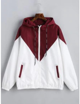 Hot Two Tone Hooded Windbreaker   Red With White M by Zaful