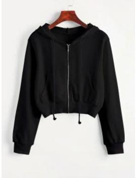 Hot Zip Up Pockets Crop Drawstring Hoodie   Black Xl by Zaful