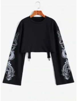 Popular Dragon Print Drop Shoulder Crop Sweatshirt   Black M by Zaful