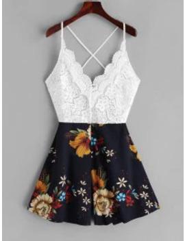 Hot Lace Panel Criss Cross Floral Cami Romper   Multi B M by Zaful