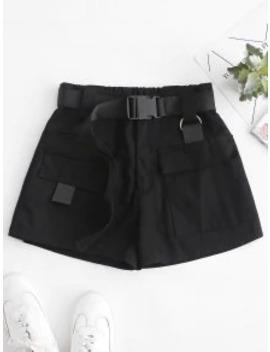 Hot High Waisted D Ring Flap Pocket Shorts   Black M by Zaful