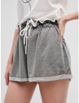 Sale Drawstring Buttons Wide Leg Cuffed Shorts   Gray S by Zaful