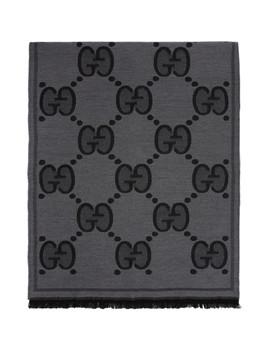 Black Wool Gg Scarf by Gucci