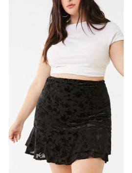 Plus Size Floral Velvet Skirt by Forever 21