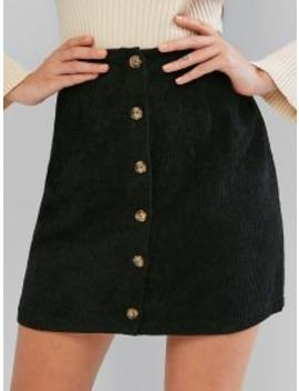 Hot Zaful Corduroy Button Fly High Rise Skirt   Black Xl by Zaful