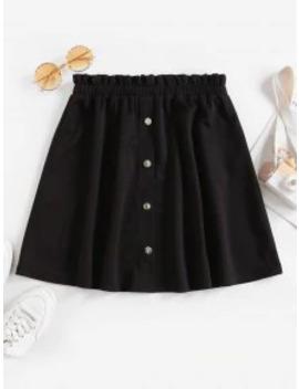 Hot Zaful Mock Button Ruffle Mini Skirt   Black S by Zaful