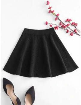 Hot Solid Color Flare Skirt   Black by Zaful