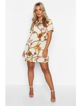 Plus Floral Chain Cap Sleeve Shift Dress by Boohoo
