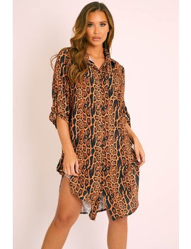 Leopard Print Button Up Sleeve Shirt Dress   Zoey by Rebellious Fashion