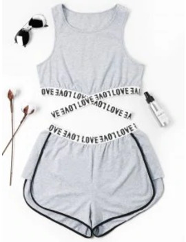 Hot Sale Letter Patched Crossover Shorts Set   Gray S by Zaful