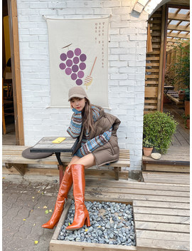 Faux Leather Knee High Boots by Stylenanda
