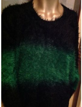 Ladies Jumper Evis M/L Black/Green 'long Haired' Very Warm Vgc by Ebay Seller