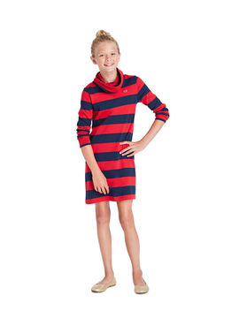 Girls Cove Rugby Stripe Cowl Neck Dress by Vineyard Vines