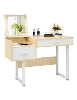 White Vanity Table With Flip Top Square Mirror Makeup Dressing Table Writing Table by Costway