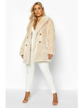 Plus Luxe Double Breasted Faux Fur Coat by Boohoo