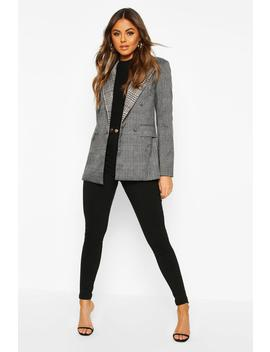 Contrast Check Double Breasted Blazer by Boohoo