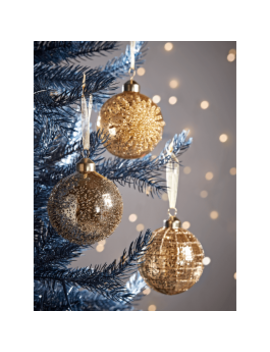 New Twelve Gold Deco Glass Baubles by Cox & Cox