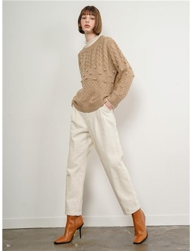 Ian Cotton Wide Pants Ivory by Judemccall