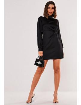 Black Satin Twist Front High Neck Mini Dress by Missguided