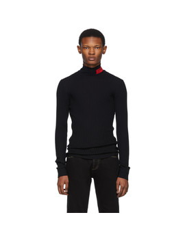 Black Logo Turtleneck by Versace Jeans Couture
