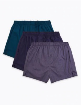 3 Pack Pure Cotton Boxers by Marks & Spencer