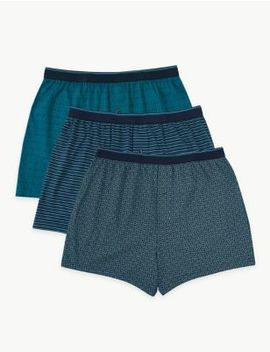 3 Pack Cotton Geometric Cool & Fresh™ Boxers by Marks & Spencer
