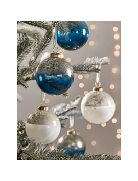 New Twelve Blue & White Ombre Glass Baubles by Cox & Cox