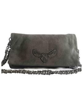 Rock Grey Suede Clutch Bag by Zadig & Voltaire